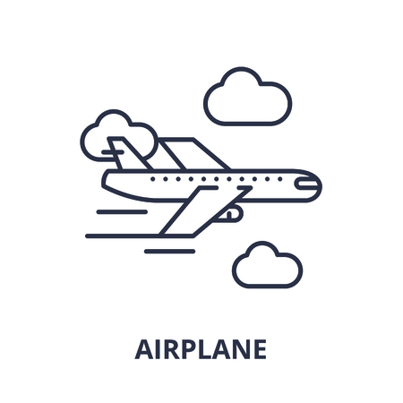 Airplane line icon concept. Airplane vector linear illustration, sign, symbol