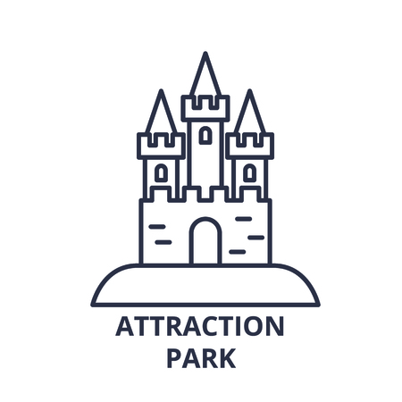 Attraction park line icon concept. Attraction park vector linear illustration, sign, symbol