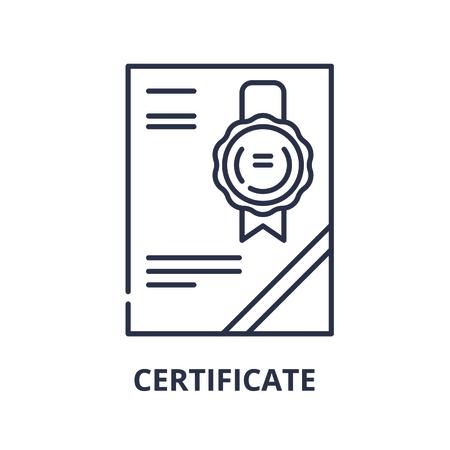 Cerificate line icon concept. Cerificate vector linear illustration, sign, symbol Illustration