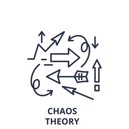 Chaos theory line icon concept. Chaos theory vector linear illustration, sign, symbol Illusztráció
