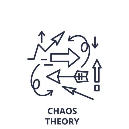 Concepto de icono de línea de teoría del caos. Ilustración linear del vector de la teoría del caos, signo, símbolo