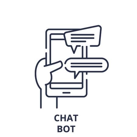 Chat bot line icon concept. Chat bot vector linear illustration, sign, symbol Иллюстрация