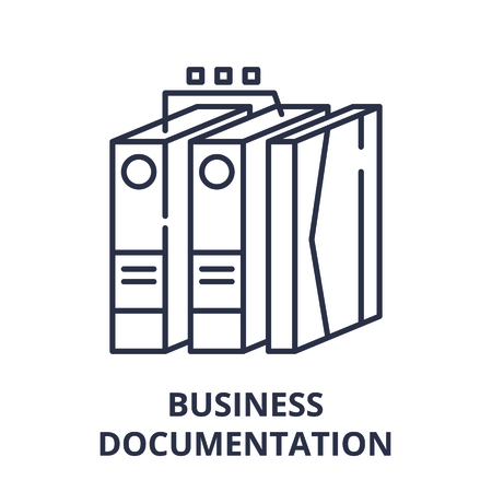 Business documentation line icon concept. Business documentation vector linear illustration, sign, symbol 写真素材 - 112276753