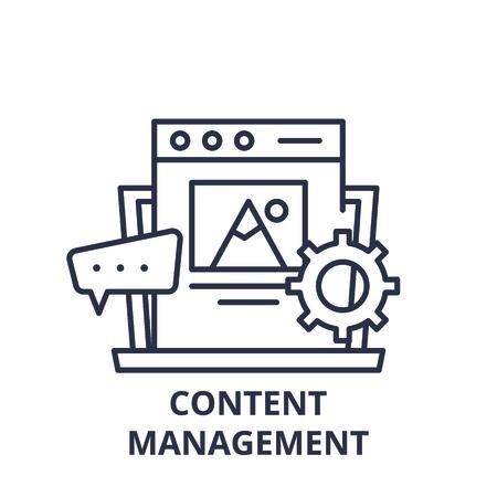 Content management line icon concept. Content management vector linear illustration, sign, symbol 版權商用圖片 - 112276999