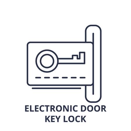 Electronic dook key lock line icon concept. Electronic dook key lock vector linear illustration, sign, symbol