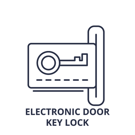 Electronic dook key lock line icon concept. Electronic dook key lock vector linear illustration, sign, symbol