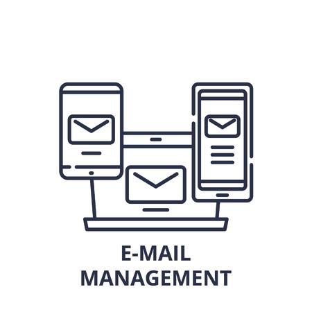 E-mail management line icon concept. E-mail management vector linear illustration, sign, symbol Illustration