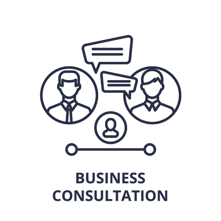 Business consultation line icon concept. Business consultation vector linear illustration, sign, symbol 向量圖像
