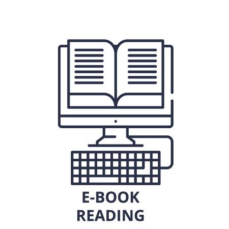 E-book reading line icon concept. E-book reading vector linear illustration, sign, symbol