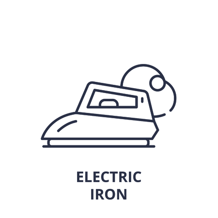 Electric iron line icon concept. Electric iron vector linear illustration, sign, symbol