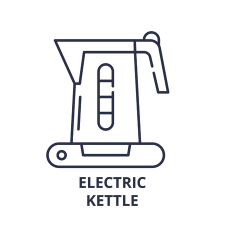 Electric kettle line icon concept. Electric kettle vector linear illustration, sign, symbol