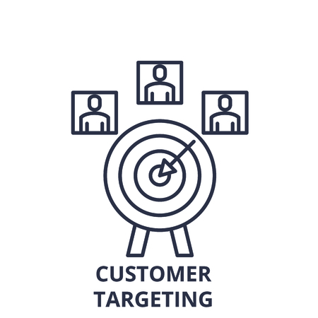 Customer targeting line icon concept. Customer targeting vector linear illustration, sign, symbol
