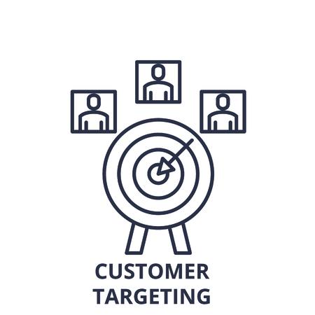 Customer targeting line icon concept. Customer targeting vector linear illustration, sign, symbol