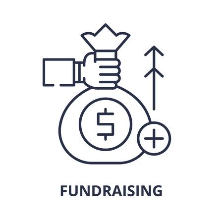 Fundraising line icon concept. Fundraising vector linear illustration, sign, symbol Illustration