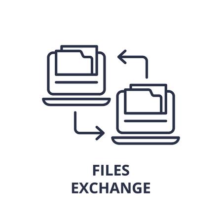 Files exchange line icon concept. Files exchange vector linear illustration, sign, symbol