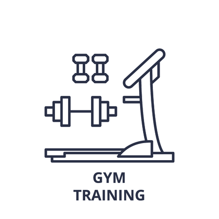 Gym training line icon concept. Gym training vector linear illustration, sign, symbol Archivio Fotografico - 127692520