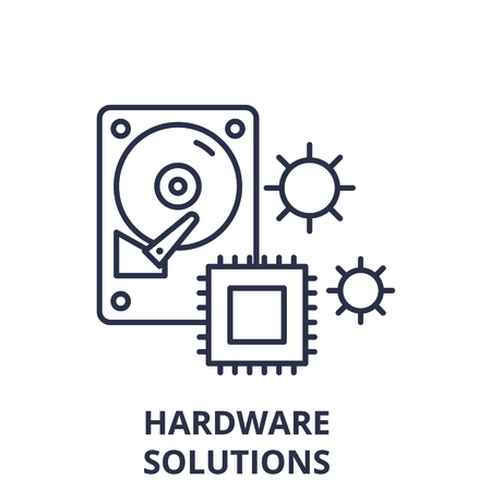 Hardware solutions line icon concept. Hardware solutions vector linear illustration, sign, symbol Stock Vector - 127692522