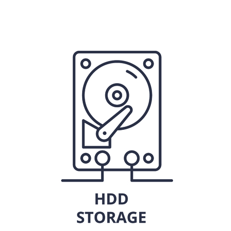 Hdd storage line icon concept. Hdd storage vector linear illustration, sign, symbol