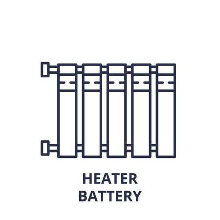 Heater battery line icon concept. Heater battery vector linear illustration, sign, symbol Ilustracja