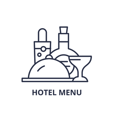 Hotel menu line icon concept. Hotel menu vector linear illustration, sign, symbol