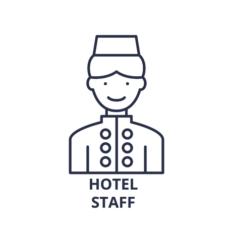 Hotel staff line icon concept. Hotel staff vector linear illustration, sign, symbol Illustration