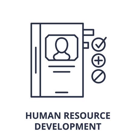 Human resource development line icon concept. Human resource development vector linear illustration, sign, symbol Vettoriali