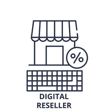 Digital reseller line icon concept. Digital reseller vector linear illustration, sign, symbol  イラスト・ベクター素材