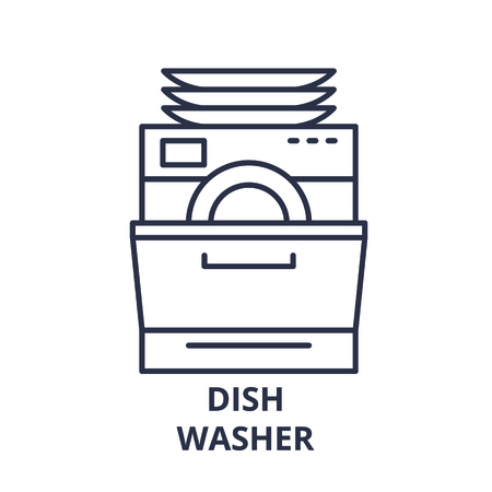 Dish washer line icon concept. Dish washer vector linear illustration, sign, symbol