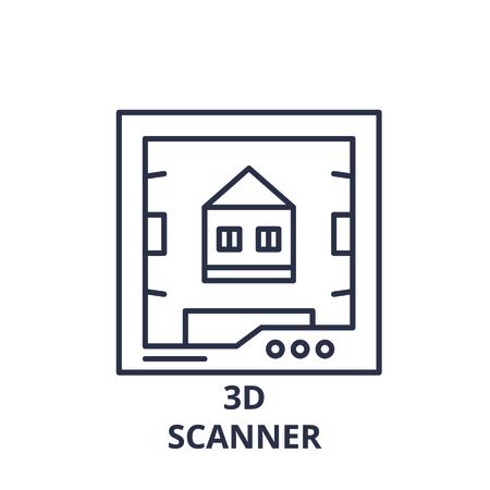3d scanner line icon concept. 3d scanner vector linear illustration, symbol, sign Ilustração