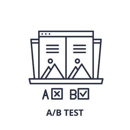 Ab test line icon concept. Ab test vector linear illustration, sign, symbol Ilustração