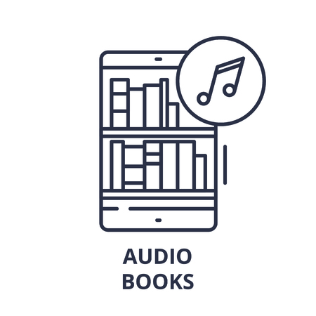 Audio books line icon concept. Audio books vector linear illustration, sign, symbol Stock Illustratie