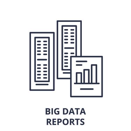 Big data reports line icon concept. Big data reports vector linear illustration, sign, symbol
