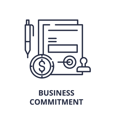 Business commitment line icon concept. Business commitment vector linear illustration, sign, symbol Banco de Imagens - 112277419