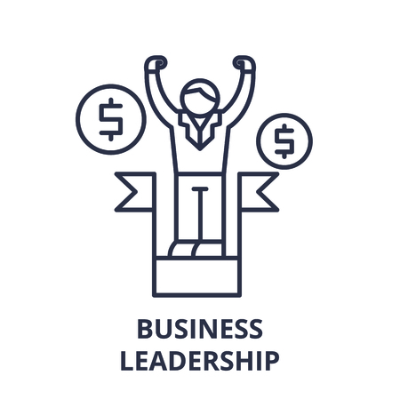 Business leadership line icon concept. Business leadership vector linear illustration, sign, symbol