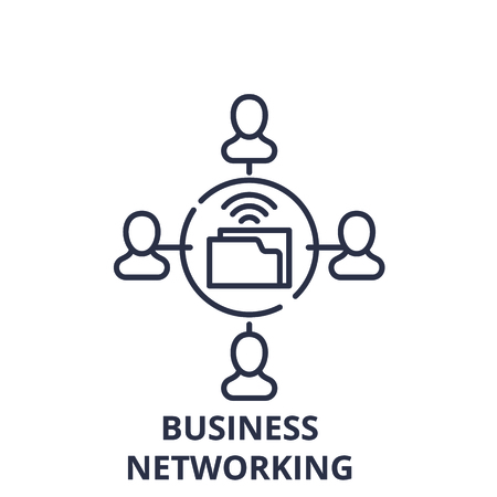 Business networking line icon concept. Business networking vector linear illustration, sign, symbol