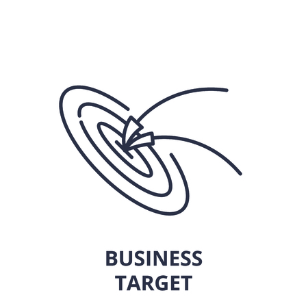 Business target line icon concept. Business target vector linear illustration, sign, symbol