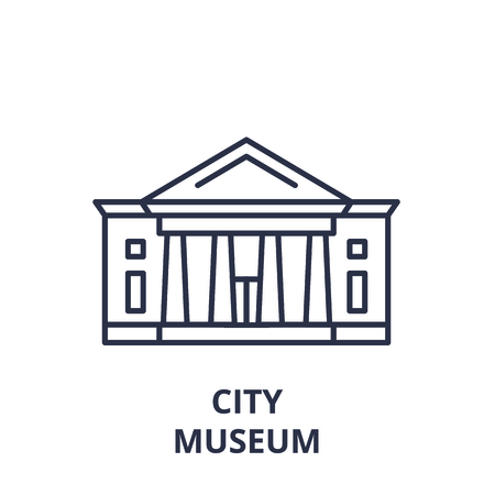 City museum line icon concept. City museum vector linear illustration, sign, symbol Archivio Fotografico - 112277577