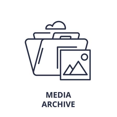 Media archive line icon concept. Media archive vector linear illustration, sign, symbol