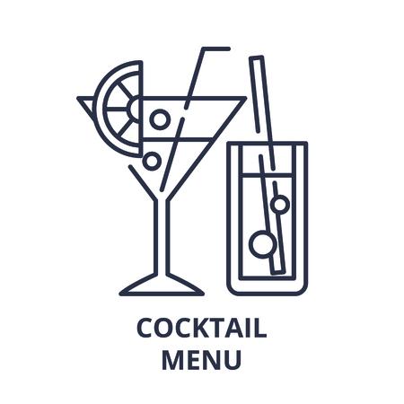 Cocktail menu line icon concept. Cocktail menu vector linear illustration, sign, symbol