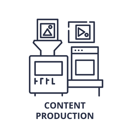Content production line icon concept. Content production vector linear illustration, sign, symbol Ilustração