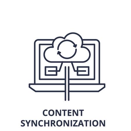 Content synchronization line icon concept. Content synchronization vector linear illustration, sign, symbol