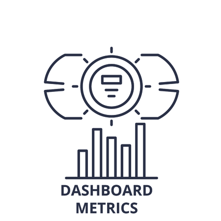 Dashboard metrics line icon concept. Dashboard metrics vector linear illustration, sign, symbol