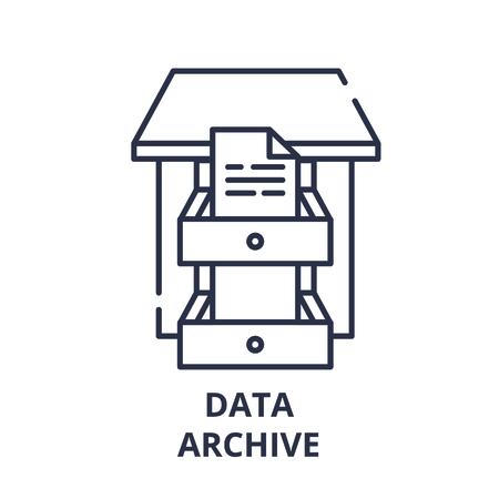 Data archive line icon concept. Data archive vector linear illustration, sign, symbol