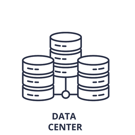 Data center line icon concept. Data center vector linear illustration, sign, symbol