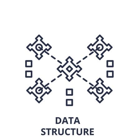 Data structure line icon concept. Data structure vector linear illustration, sign, symbol Ilustração