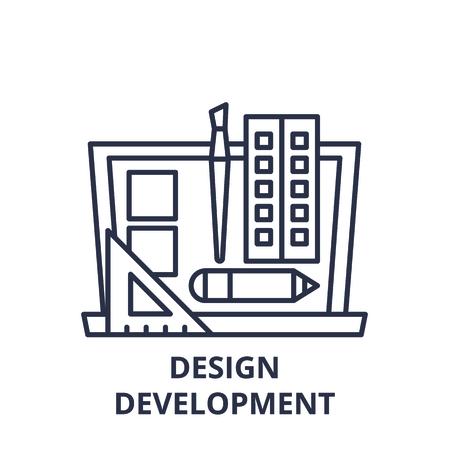 Design development line icon concept. Design development vector linear illustration, sign, symbol