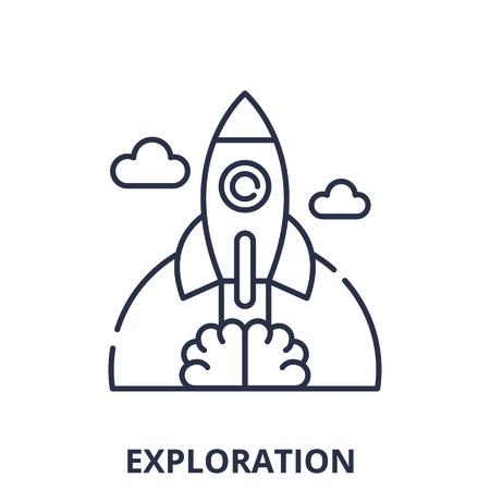 Exploration line icon concept. Exploration vector linear illustration, sign, symbol Ilustração