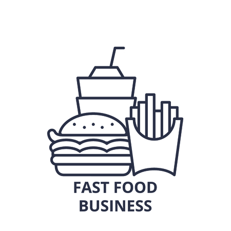 Fast food business line icon concept. Fast food business vector linear illustration, sign, symbol