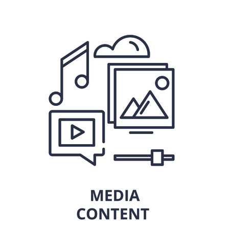 Media content line icon concept. Media content vector linear illustration, sign, symbol Ilustração