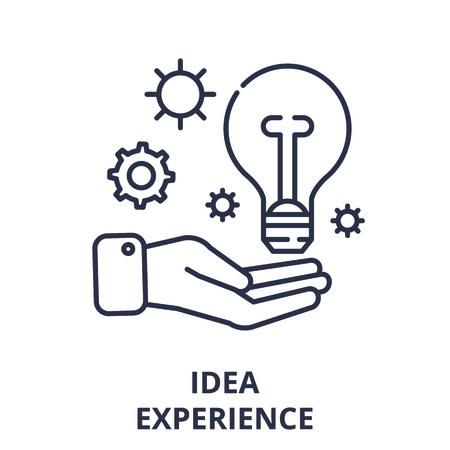 Idea experience line icon concept. Idea experience vector linear illustration, sign, symbol Ilustração